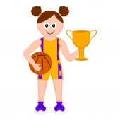 Isolated cute basketball player with a ball