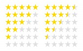 Set of stars rating Customer review with gold star icon 5 stars and half assessment of customer in flat style vector illustration