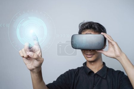 Photo for Man with glasses of virtual reality. Future technology concept. - Royalty Free Image