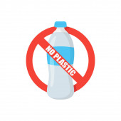 no plastic bottle and prohibition sign flat
