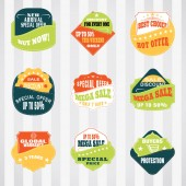 Vintage labels set for commerce and premium trade with stitching in pockets Retro badges vector set for internet commerce with stitching in pockets