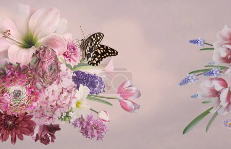 Photo pour Printemps des fleurs tulipes, jacinthes, anémone, primevères en fleur et papillon. Bouquet de belles fleurs jardins rose. Décoration florale. Vintage fond. Style baroque. - image libre de droit