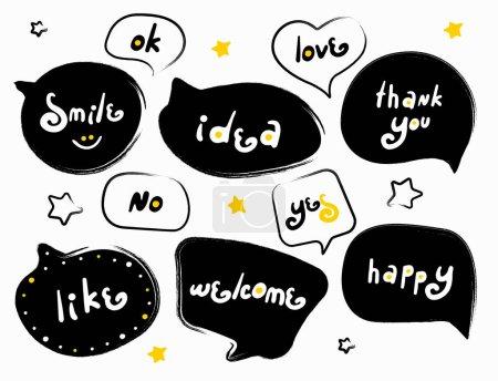 Illustration pour Drôle de bulles modernes avec des mots. Slogan stylisé typographie. Recueil de citations et phrases croquis. Fenêtres de dialogue avec des phrases : heureux, merci, comme, bienvenue, sourire, oui, idée, non, ok, amour - image libre de droit