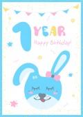 postcard 1 year with rabbit
