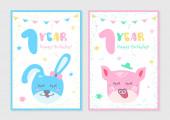set of 1 year kids postcard