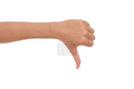 Photo pour Main féminine montrant pouce vers le bas . - image libre de droit