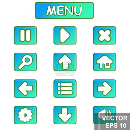 Illustration for Button. Game. A cartoon. Congratulations. For your design. Vector conceptual illustration. - Royalty Free Image
