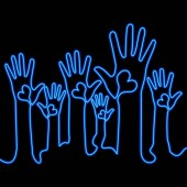 One line drawing art hand with heart neon concept