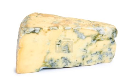 Piece of milky blue cheese, isolated on white back...