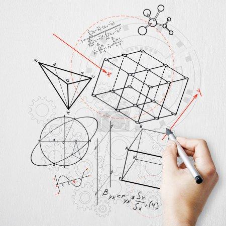 Photo pour Croquis de figures géométriques créatrices de dessin de main sur le fond blanc. géométrie. concept de science et d'éducation - image libre de droit