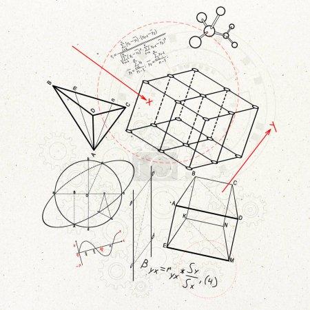Photo pour Croquis géométrique créatif de figures sur le fond blanc. géométrie. concept de science et d'éducation, rendu 3D - image libre de droit