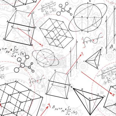 Photo pour Croquis géométrique abstrait de figures sur le fond blanc. géométrie. concept de science et d'éducation, rendu 3D - image libre de droit