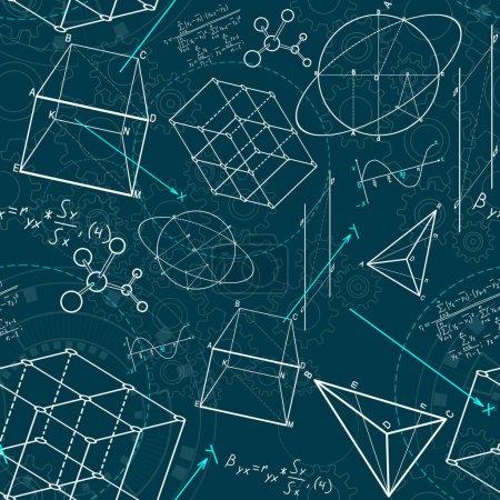 Photo pour Croquis géométrique créatif de figures sur le fond bleu. géométrie. concept de science et d'éducation, 3D, rendu, - image libre de droit