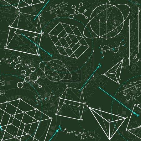 Photo pour Croquis géométrique créatif de figures sur le fond vert. géométrie. concept de science et d'éducation, rendu 3D - image libre de droit