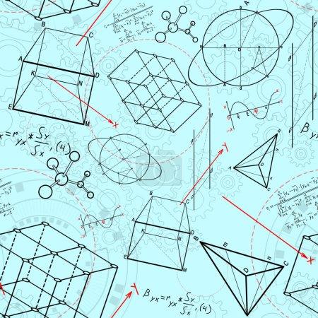 Photo pour Croquis géométrique abstrait de figures sur le fond bleu. géométrie. concept de science et d'éducation, rendu 3D - image libre de droit