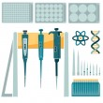 Laboratory equipment: laboratory pipette and set o...