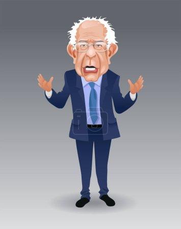 Caricature of Bernie Sanders, speaking and gesturi...