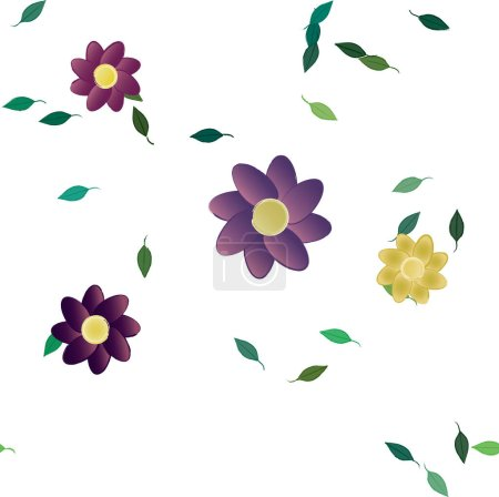 Photo for Simple flowers with green leaves in free composition, vector illustration - Royalty Free Image