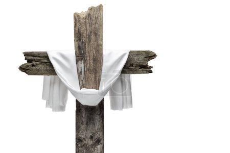 Photo pour Croix de Pâques isolée sur fond blanc. Il est ressuscité concept . - image libre de droit