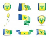 Saint Vincent and the Grenadines Flags Collection Flags and contour map Vector illustration