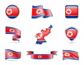 North Korea flags collection Vector illustration set flags and outline of the country