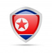 Shield with North Korea flag on white background