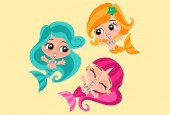 3 Modern cartoon young mermaids This set includes 03 colored vector characters You can easily edit their colors They will help you complement your presentation website ebook or infographic