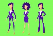 03 Flat cartoon businesswomen characters green version These colorful vector women have modern character design They will help you complement your presentation website ebook or infographic You can easily edit their colors
