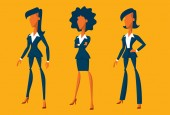 03 Flat cartoon businesswomen characters orange version These colorful vector women have modern character design They will help you complement your presentation website ebook or infographic You can easily edit their colors