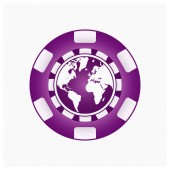 Poker Chip with Earth Global sport challenge