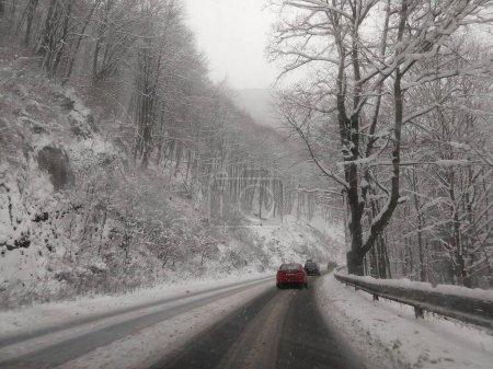 Road under the deep snow during winter. Slovakia