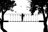 Vector silhouette of girl in rope park