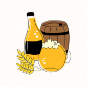 Outline set of mug and bottle of beer barrel and wheat isolated on white background