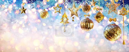Golden Retro Baubles Hanging On Fir Branches - Christmas Ornament