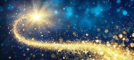 Foto de Estrella de oro de Navidad en la noche brillante - Imagen libre de derechos