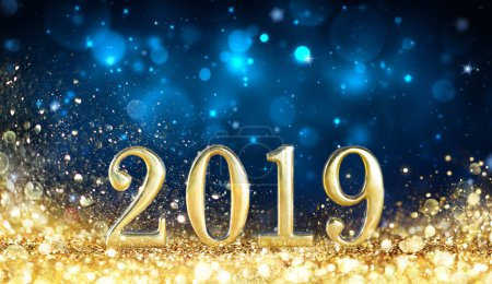 Photo for Happy New Year 2019 - Glitter Golden Dust - Royalty Free Image