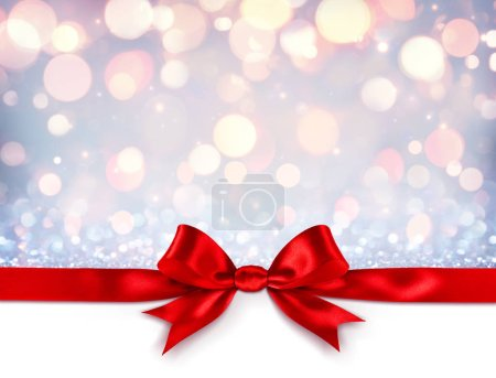 Photo for Red Ribbon With Bow On Shiny Silver Background - Christmas Gift - Royalty Free Image