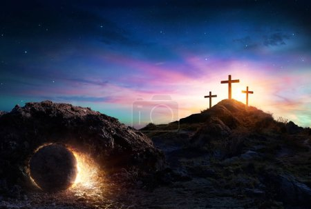 Photo for Resurrection - Tomb Empty With Crucifixion At Sunrise - Royalty Free Image
