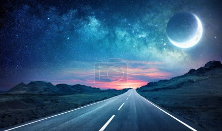 Photo for Road In Night - With Half Moon And Milky Way - Royalty Free Image