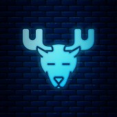 Glowing neon Moose head with horns icon isolated on brick wall background Vector Illustration