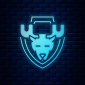 Glowing neon Moose head on shield icon isolated on brick wall background Hunting trophy on wall Vector Illustration