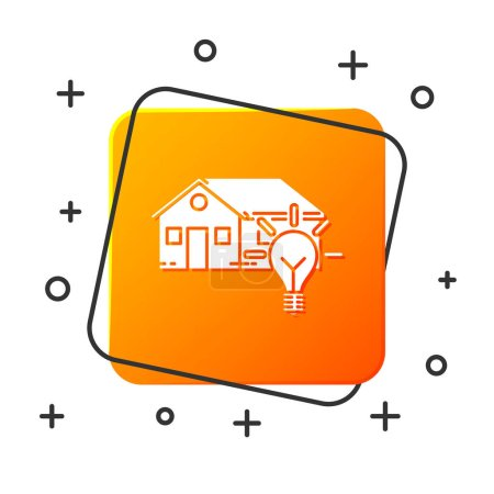 White Smart house and light bulb icon isolated on white background. Orange square button. Vector Illustration