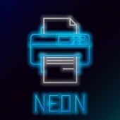 Blue glowing neon line Printer icon isolated on black background Colorful outline concept Vector Illustration