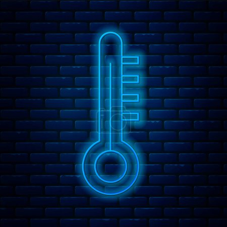 Illustration for Glowing neon line Meteorology thermometer measuring icon isolated on brick wall background. Thermometer equipment showing hot or cold weather.  Vector Illustration. - Royalty Free Image