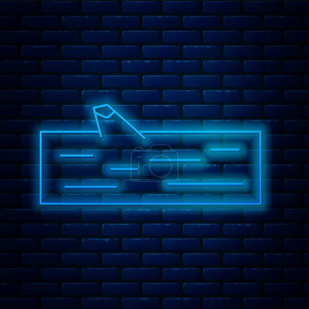 Illustration for Glowing neon line Wooden log icon isolated on brick wall background.  Vector Illustration. - Royalty Free Image