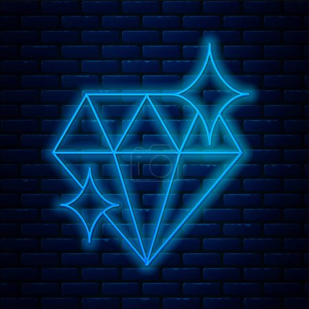 Illustration for Glowing neon line Diamond icon isolated on brick wall background. Jewelry symbol. Gem stone. 8 March. International Happy Women Day.  Vector Illustration. - Royalty Free Image