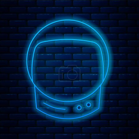 Illustration for Glowing neon line Astronaut helmet icon isolated on brick wall background.  Vector Illustration. - Royalty Free Image
