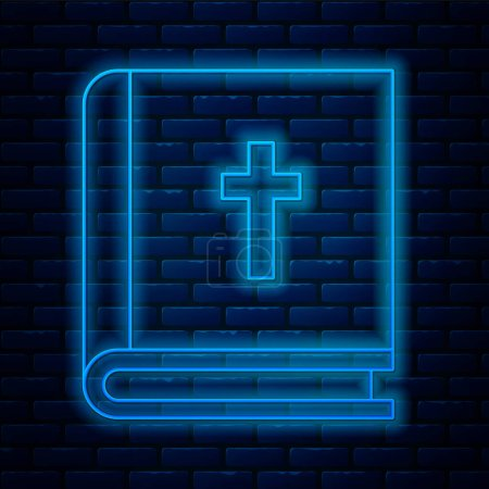 Illustration for Glowing neon line Holy bible book icon isolated on brick wall background.  Vector Illustration. - Royalty Free Image