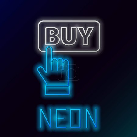 Illustration for Glowing neon line Buy button icon isolated on black background. Colorful outline concept. Vector. - Royalty Free Image