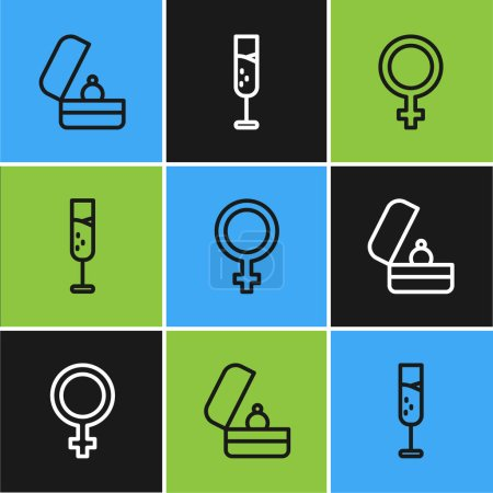 Set line Wedding rings, Female gender symbol and G...